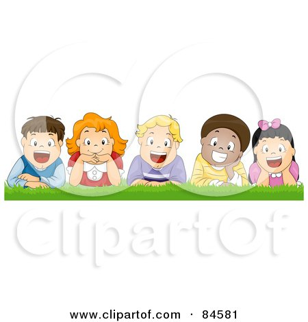 Royalty-Free (RF) Clipart Illustration of a Group Of Five Happy Diverse Boys And Girls Laying In Grass by BNP Design Studio