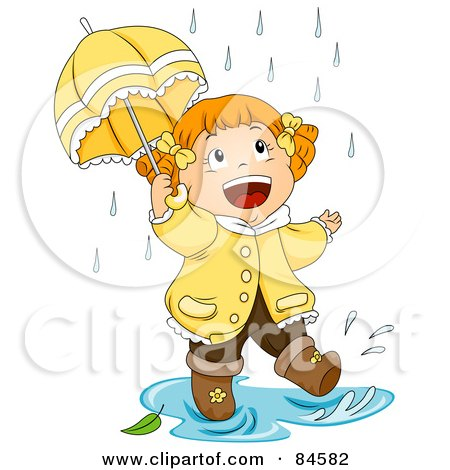 Royalty-Free (RF) Clipart Illustration of a Happy Little Girl Walking Through A Puddle In The Rain by BNP Design Studio