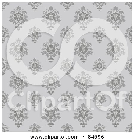 Royalty-Free (RF) Clipart Illustration of a Seamless Repeat Background Of Gray Flourishes On Gray by BestVector