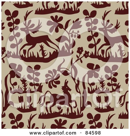 Royalty-Free (RF) Clipart Illustration of a Seamless Repeat Background Of Brown Plants, Flowers And Deer On Beige by BestVector