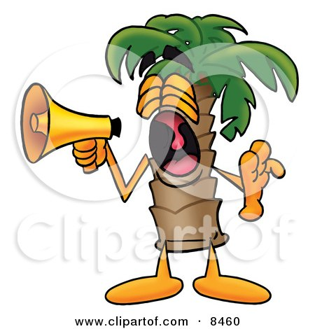 Clipart Picture of a Palm Tree Mascot Cartoon Character Screaming Into a Megaphone by Toons4Biz