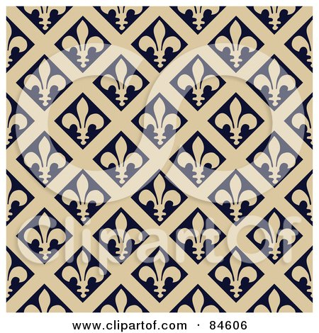 Royalty-Free (RF) Clipart Illustration of a Seamless Repeat Background Of Beige Fleur De Lis Diamonds On Black by BestVector