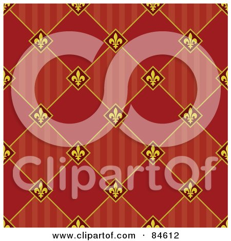 Royalty-Free (RF) Clipart Illustration of a Seamless Repeat Background Of Fleur De Lis Diamonds With Stripes And Solids by BestVector