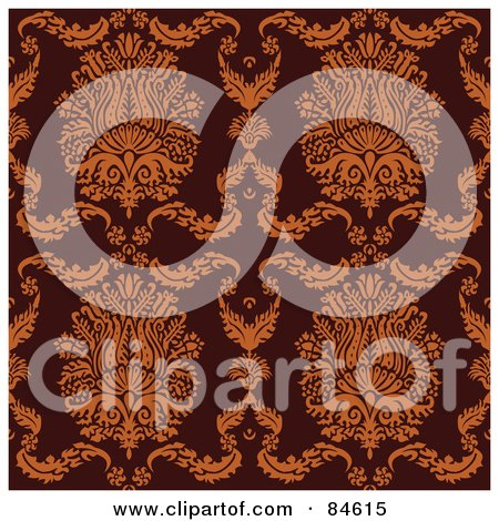 Royalty-Free (RF) Clipart Illustration of a Seamless Repeat Background Of Elegant Orange Crests And Leaves On Brown by BestVector