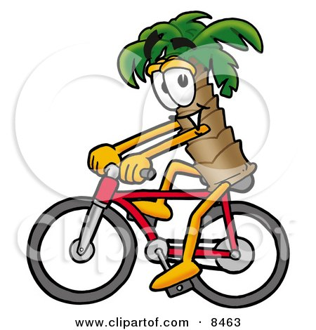 Clipart Picture of a Palm Tree Mascot Cartoon Character Riding a Bicycle by Toons4Biz