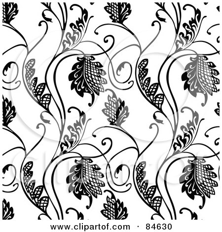 Royalty-Free (RF) Clipart Illustration of a Seamless Repeat Background Of Black And White Floral Hatch Vines by BestVector