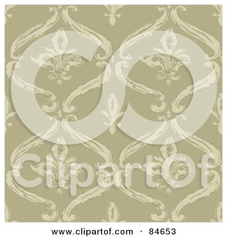 Royalty-Free (RF) Clipart Illustration of a Seamless Repeat Background Of Fleur De Lis Designs On Tan by BestVector