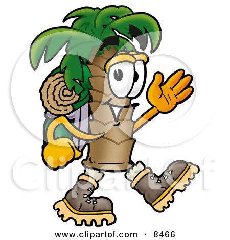Clipart Picture of a Palm Tree Mascot Cartoon Character Hiking and Carrying a Backpack by Toons4Biz