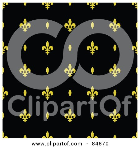 Royalty-Free (RF) Clipart Illustration of a Seamless Repeat Background Of Yellow Ovals And Fleur De Lis Designs On Black by BestVector