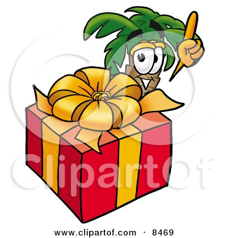 Clipart Picture of a Palm Tree Mascot Cartoon Character Standing by a Christmas Present by Toons4Biz