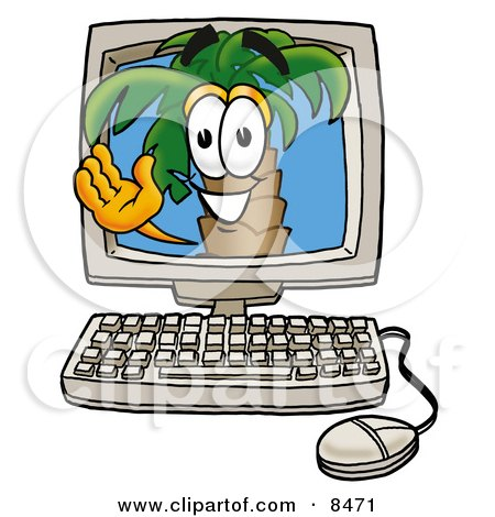 Clipart Picture of a Palm Tree Mascot Cartoon Character Waving From Inside a Computer Screen by Toons4Biz