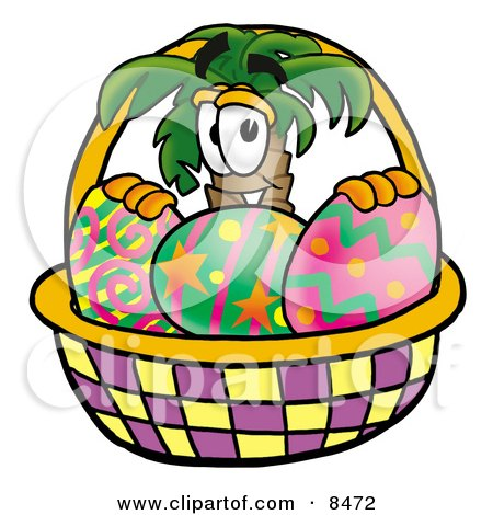 Clipart Picture of a Palm Tree Mascot Cartoon Character in an Easter Basket Full of Decorated Easter Eggs by Toons4Biz