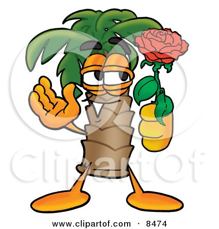 Clipart Picture of a Palm Tree Mascot Cartoon Character Holding a Red Rose on Valentines Day by Toons4Biz