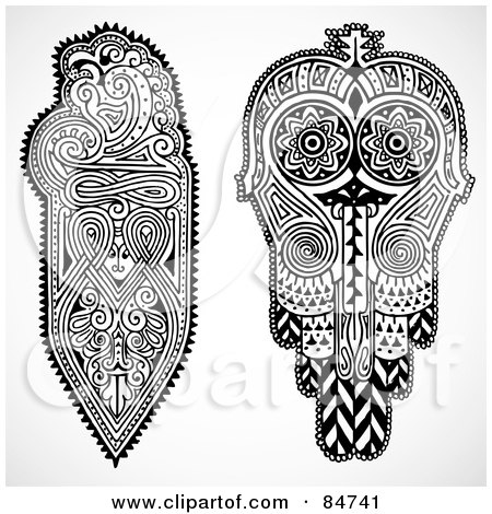Royalty-Free (RF) Clipart Illustration of a Digital Collage Of Black And White Paisley Designs by BestVector