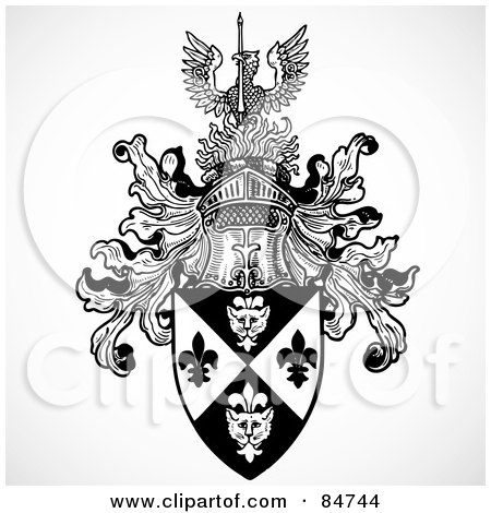 Royalty-Free (RF) Clipart Illustration of a Black And White Knight Helmet And Shield With A Phoenix by BestVector