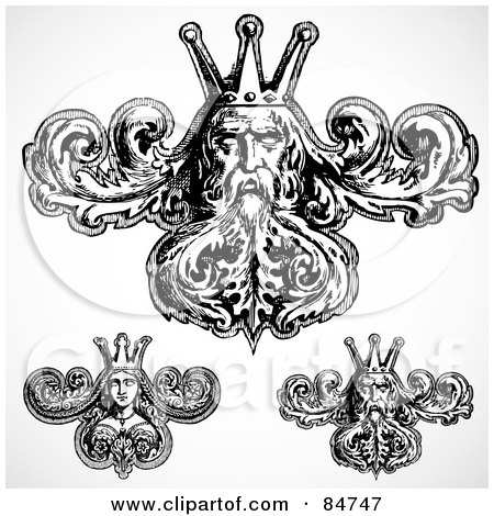 Royalty-Free (RF) Clipart Illustration of a Digital Collage Of Black And White Queen And King Design Elements by BestVector