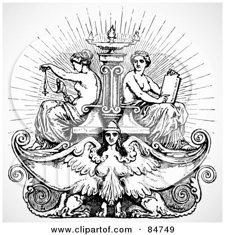 Royalty-Free (RF) Clipart Illustration of a Black And White Female Angel And Maiden Fountain by BestVector
