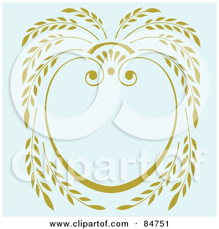 Royalty-Free (RF) Clipart Illustration of a Yellow Laurel Frame Over Pale Blue by BestVector