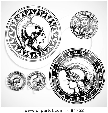 Royalty-Free (RF) Clipart Illustration of a Digital Collage Of Black And White Roman Coins by BestVector