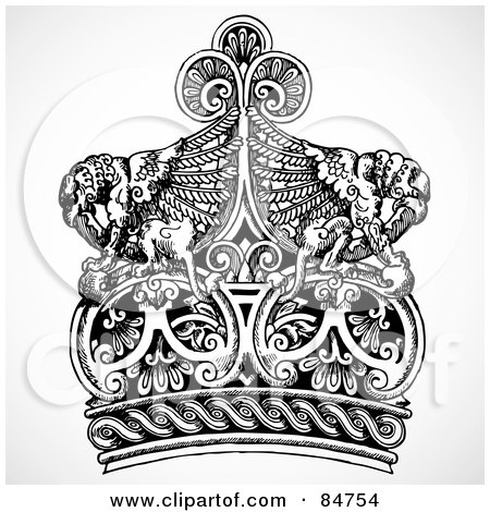 Royalty-Free (RF) Clipart Illustration of a Black And White Crown With Fantasy Creatures by BestVector