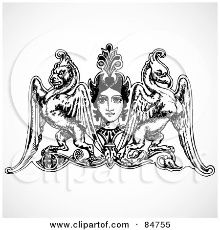 Royalty-Free (RF) Clipart Illustration of a Design Element Of A Woman's Face With A Winged Lion And Phoenix by BestVector