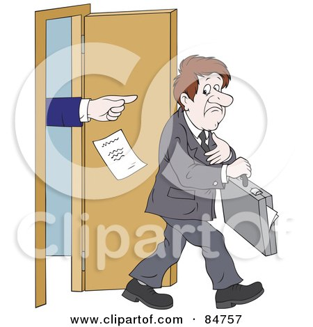 Royalty-Free (RF) Clipart Illustration of a Sad Unemployed Businessman Being Kicked Out Of An Office by Alex Bannykh