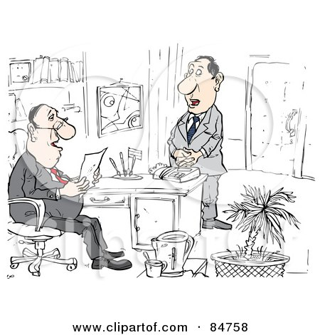 Royalty-Free (RF) Clipart Illustration of a Shy Applicant Waiting For A Manager To Read Over His Resume In An Office by Alex Bannykh
