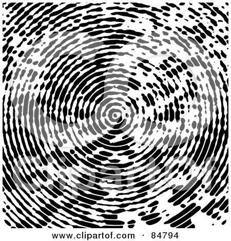 Royalty-Free (RF) Clipart Illustration of a Black And White Background Of A Circular Fingerprint by Arena Creative