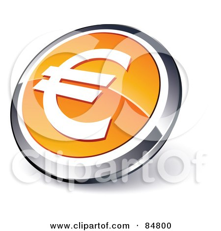 Royalty-Free (RF) Clipart Illustration of a Shiny Orange Euro App Button With A Chrome Rim by beboy