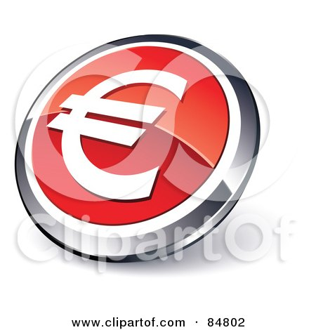 Royalty-Free (RF) Clipart Illustration of a Shiny Red Euro App Button With A Chrome Rim by beboy