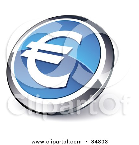 Royalty-Free (RF) Clipart Illustration of a Shiny Blue Euro App Button With A Chrome Rim by beboy