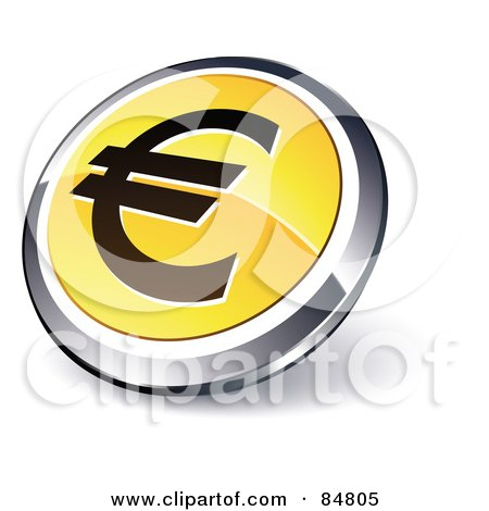 Royalty-Free (RF) Clipart Illustration of a Shiny Yellow Euro App Button With A Chrome Rim by beboy