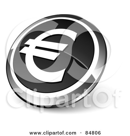 Royalty-Free (RF) Clipart Illustration of a Shiny Black Euro App Button With A Chrome Rim by beboy
