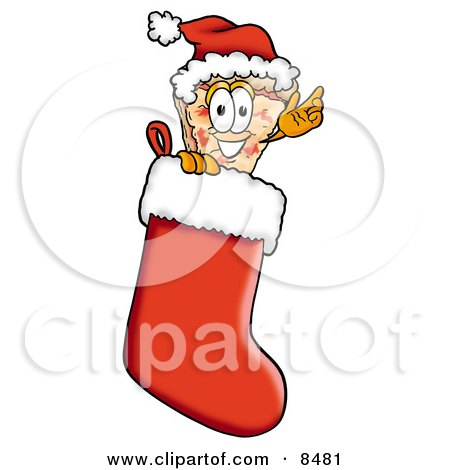 Clipart Picture of a Slice of Pizza Mascot Cartoon Character Wearing a Santa Hat Inside a Red Christmas Stocking by Toons4Biz