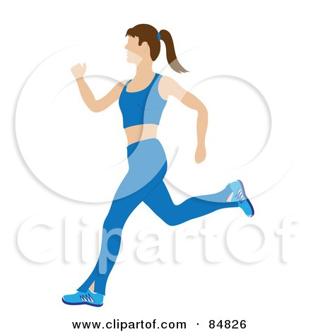 Royalty-Free (RF) Clipart Illustration of a Fit And Healthy Caucasian Woman Running In A Blue Exercise Suit by Pams Clipart