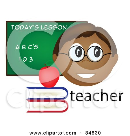 Royalty-Free (RF) Clipart Illustration of a Friendly Male Indian Teacher With The Word, Books And Chalk Board by Pams Clipart