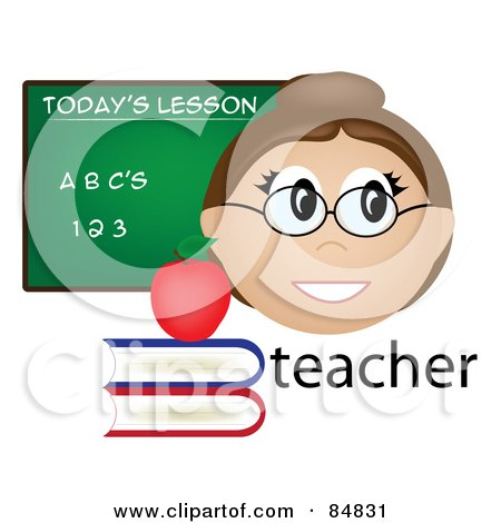 Royalty-Free (RF) Clipart Illustration of a Friendly Female Caucasian Teacher With The Word, Books And Chalk Board by Pams Clipart