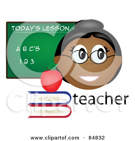 Royalty-Free (RF) Clipart Illustration of a Friendly Female Indian Teacher With The Word, Books And Chalk Board by Pams Clipart
