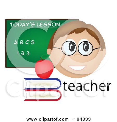 Royalty-Free (RF) Clipart Illustration of a Friendly Male Caucasian Teacher With The Word, Books And Chalk Board by Pams Clipart