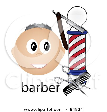 Royalty-Free (RF) Clipart Illustration of a Friendly Caucasian Barber Face By A Pole With Tools And The Word Barber by Pams Clipart