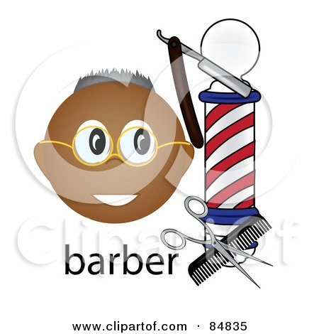 Friendly Black Barber Face By A Pole With Tools And The Word Barber Posters, Art Prints