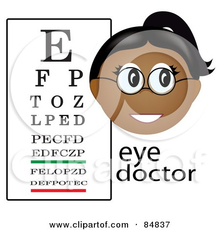 Royalty-Free (RF) Clipart Illustration of a Friendly Female Indian Eye Doctor With The Word And A Vision Chart by Pams Clipart