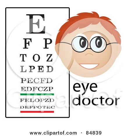 Royalty-Free (RF) Clipart Illustration of a Friendly Male Caucasian Eye Doctor With The Word And Eye Chart by Pams Clipart