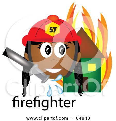 Royalty-Free (RF) Clipart Illustration of a Friendly Female Indian Firefighter With The Word By A Flaming House by Pams Clipart