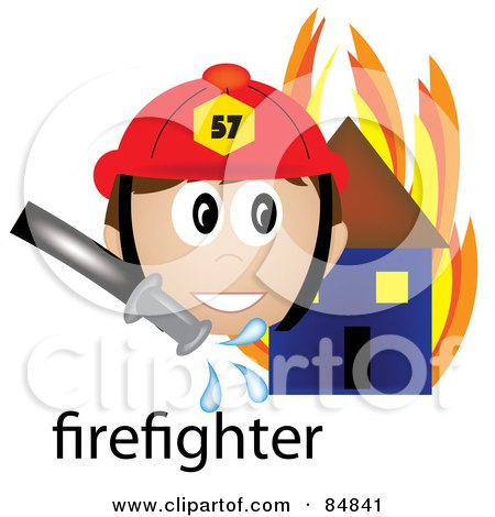 Royalty-Free (RF) Clipart Illustration of a Friendly Male Caucasian Firefighter With The Word By A Flaming House by Pams Clipart