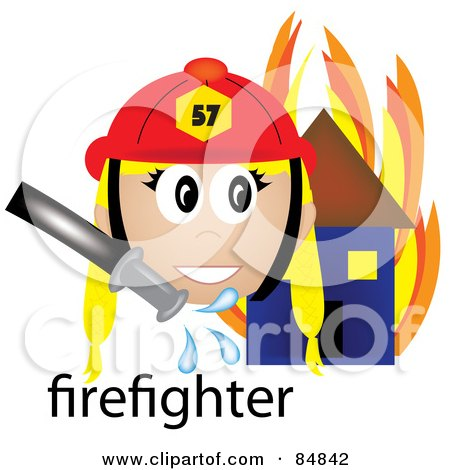 Royalty-Free (RF) Clipart Illustration of a Friendly Female Caucasian Firefighter With The Word By A Flaming House by Pams Clipart