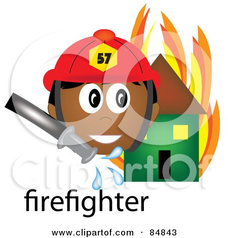 Royalty-Free (RF) Clipart Illustration of a Friendly Male Indian Firefighter With The Word By A Flaming House by Pams Clipart