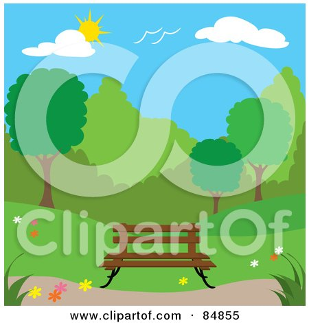 Royalty-Free (RF) Clipart Illustration of a Wooden Bench In A Spring Time Park by Pams Clipart