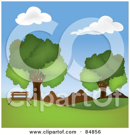 Royalty-Free (RF) Clipart Illustration of a Park Bench On A Hill Near Mountains And Mature Oak Trees by Pams Clipart