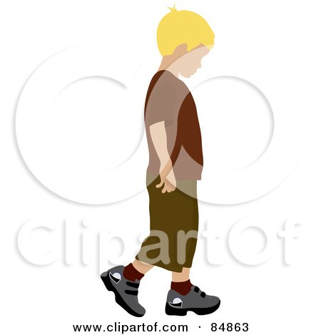Royalty-Free (RF) Clipart Illustration of a Little Blond Caucasian Boy Walking To The Right by Pams Clipart